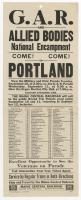 G.A.R. National Encampment announcement, Portland, 1929
