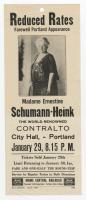 Madame Ernestine Schumann-Heink performance flyer, Portland, ca. 1928