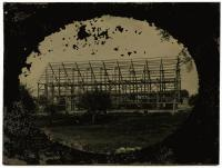 Tintype of barn construction, ca. 1865