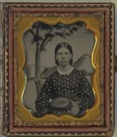 Portrait of a young woman with a straw hat, South Berwick, ca. 1865