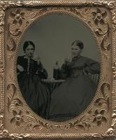 Two women with whiskey glasses, ca. 1854