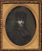 Daguerreotype of a man dressed in fur, ca. 1850