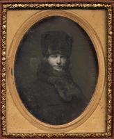 Daguerreotype of a man dressed in fur, ca. 1850