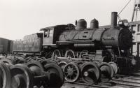 Bangor and Aroostook Railroad engine 66, Oakfield, ca. 1935