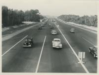 Maine Turnpike approach to Kittery toll booth, 1947