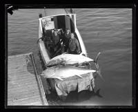 Three fisherman with two Bluefin tuna, ca. 1935