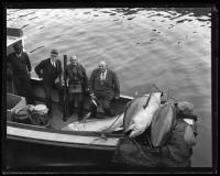 Men on a boat with bluefin tuna, ca. 1935
