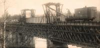 Rebuilding the old railroad bridge, Norridgewock, ca. 1900
