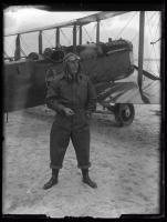 Biplane on the beach, ca. 1920