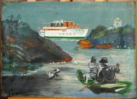 Painting of Camden Harbor, 1933