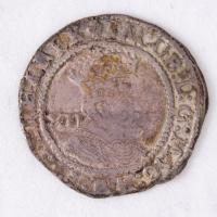 King James I English shilling coin, Richmond Island, 1604