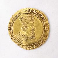 King James I English double crown coin, Richmond Island, 1618