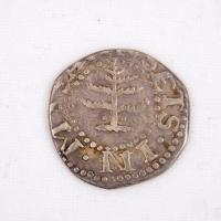 Massachusetts Bay Colony Pine Tree Sixpence coin, Castine, ca. 1671