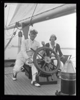 "Lawrence Tibbett aboard the ""Rhoda"", ca. 1925"