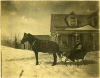 Winter sleigh at Charles Colby's house, Westport Island, ca. 1908