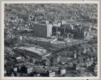 Aerial view of Maine Medical Center parking garage construction, Portland, 1972