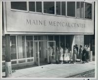 Staff tours the new Maine Medical Center building, Portland, 1956