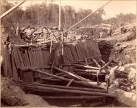 Construction of dam, Pejepscot Paper Co., Topsham, 1893
