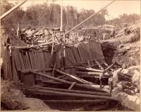 Construction of dam, Pejepscot Paper Co., Topsham, 1893