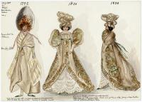 Painting of 18th and 19th century fashion dolls, 1919