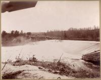 Water flowing over Pejepscot Dam, Topsham, 1896