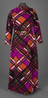 Diagonal plaid belted dress, ca. 1970