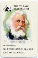 Game of Authors playing card showing Henry Wadsworth Longfellow, ca. 1900