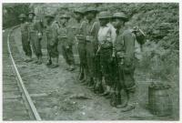 Soldiers at Onawa Trestle, Morkill, ca. 1943