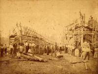 Hiram Emery and Vigilant under construction, Kennebunk, 1877