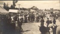 Houlton Fair scene with banner for That Strange Girl Dolly