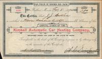 Kimball  Stock Certificate, 1896