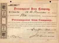 Presumpscot Iron Company Stock Certificate, 1883