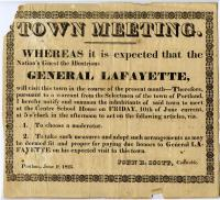 Town meeting notice, Portland, 1825