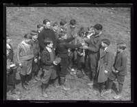 Children preparing to play baseball, Portland, 1927