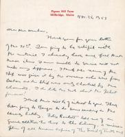 Letter concerning Harbinger of Peace, 1953