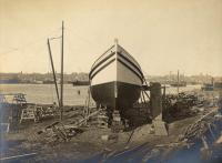 Ship on runway, South Portland, 1905