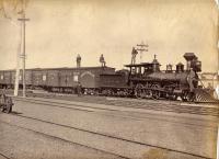 Locomotive and train cars, Portland, ca. 1880