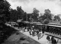 Boarding the trolley, Portland