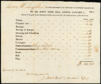 Bowdoin College Tuition Bill for Henry Wadsworth Longfellow, 1823