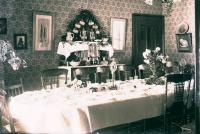French House Dining Room set for family celebration, Houlton, c. 1910