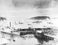 Mount Desert Steamship at the Bar Harbor wharf, ca. 1890