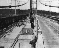 Waldo-Hancock Bridge roadbed work, 1960