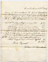 William S. Blanchard transportation invoice, Cumberland, 1862