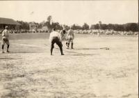 Tingley Makes Easy Score, Portland v. Houlton, baseball, ca. 1945
