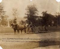Suffolk Punch horses and gigger wagon, ca. 1915