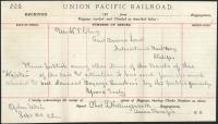 Message from railroad baggage agent, Ogden, Utah, 1873