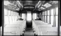 Interior of street railroad car, ca. 1920