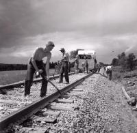 Railraod Sectionmen Spreading Ballast, Littleton, 1956