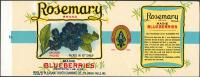 Rosemary brand Maine blueberries can label, ca. 1935