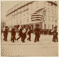 Parade through Monument Square in Portland, 1898